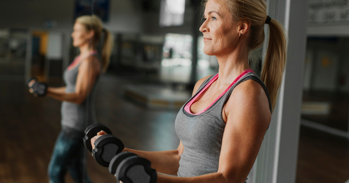 Midlife healthy woman exercising